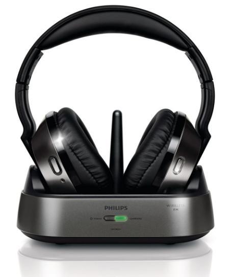 Casque Hi-Fi Sans-fil Philips SHC8535 avec Station d'accueil - FM, Noir / Gris (via ODR de 7.38€)