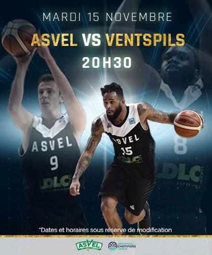 Match de basket-ball Coupe d'Europe ASVEL / Ventspils gratuit - mardi 15 novembre (20h30)