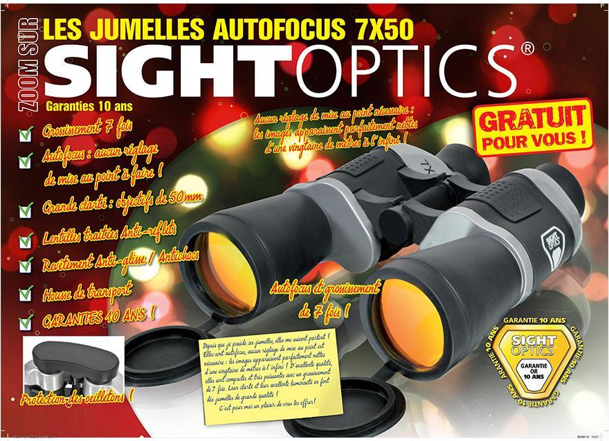 Jumelles Sightoptics Autofocus 7x50 offertes pour toute commande