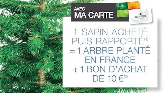 1 sapin rapporté =  1 bon d'achat de 10€ offert et un arbre planté (via l'ONF)