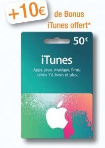 15 à 20% de crédit supplémentaire offert sur les cartes Itunes - Ex: 10€ offert pour l'achat d'une carte de 50€