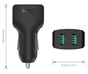 Chargeur allume-cigare Aukey (2 ports USB, 4.8 A)