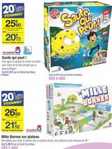 Sélection de jeux de société en promotion - Ex: Milles Bornes + Saute qui peut (via 25.9€ en ODR + 25.56€ sur la carte)