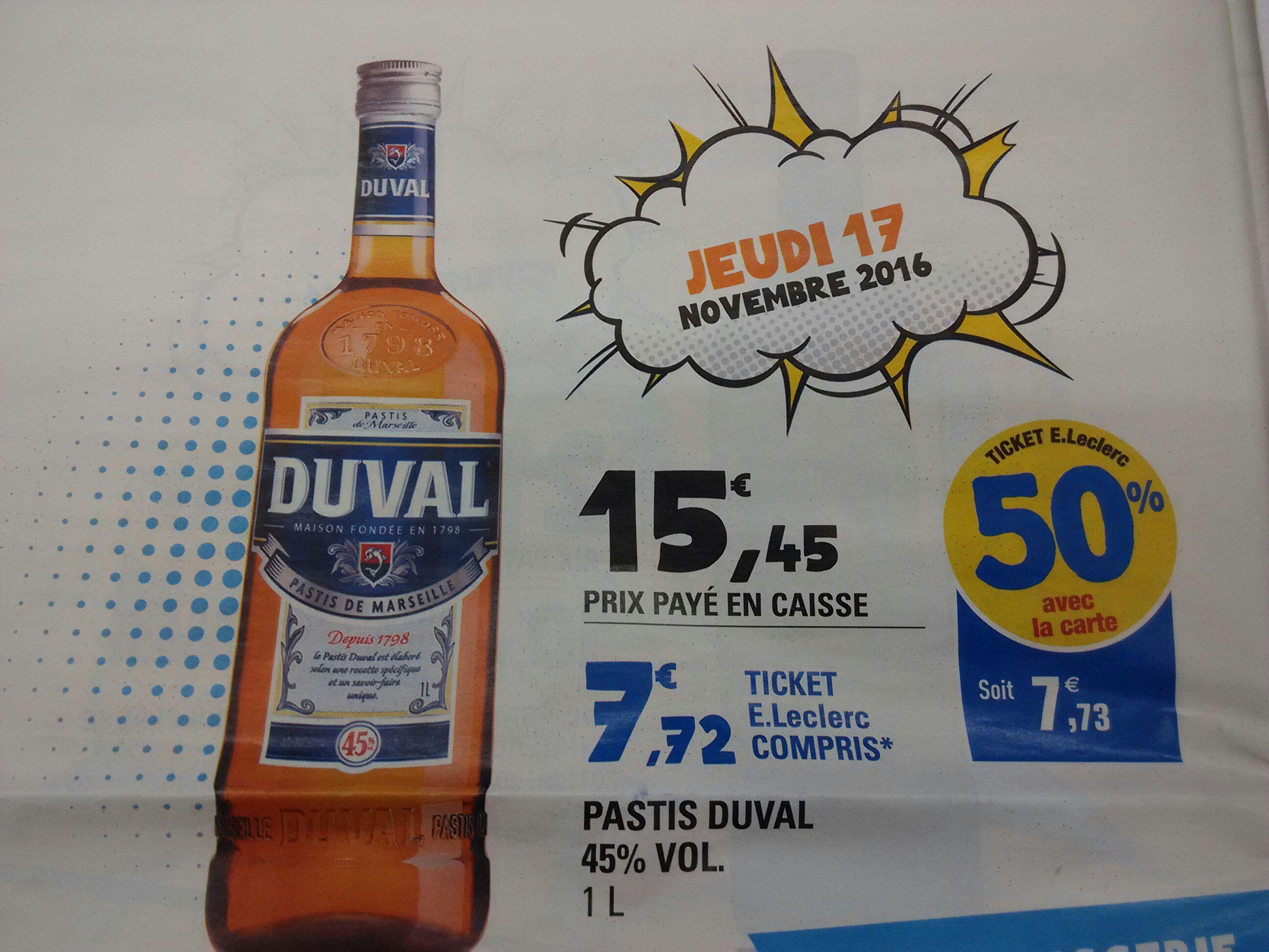 Bouteille de Pastis Duval - 1L, 45° (via 7.73€ sur la carte)