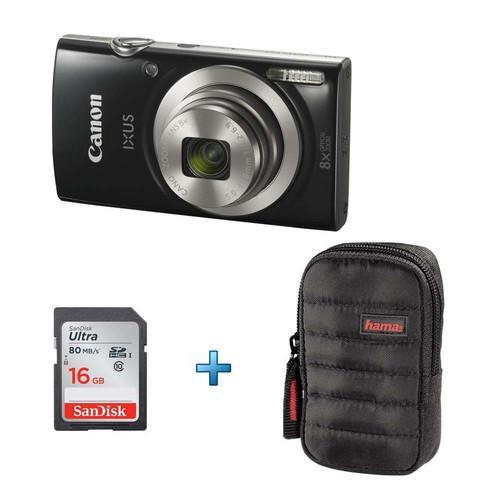 Appareil photo Canon Ixus 177 + Carte SD Sandisk Ultra 16 Go classe 10 + Sacoche Hama Syscase 60G