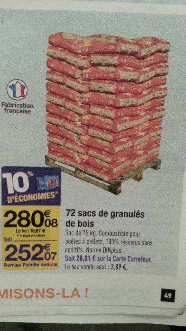Palette de 72 sacs de 15 kg de granulés de bois (avec 28€ sur la carte)