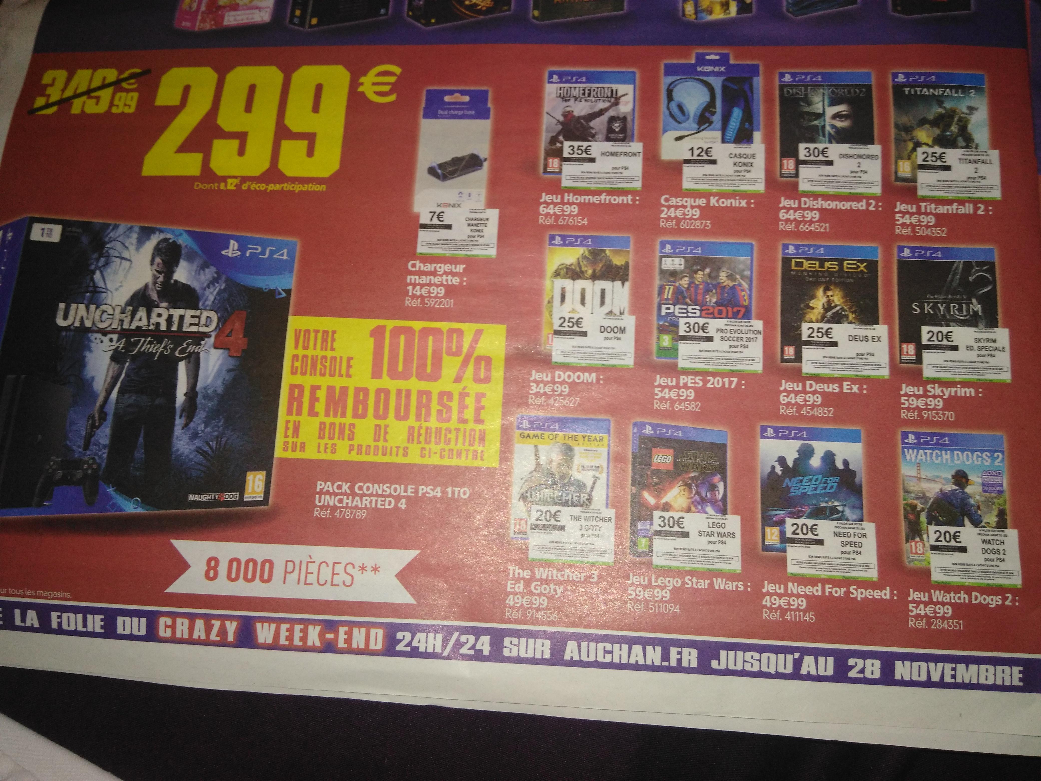 Console Sony PS4 1 To + Uncharted 4 + 13 Bons de réduction à utiliser sur une sélection de jeux/accessoires