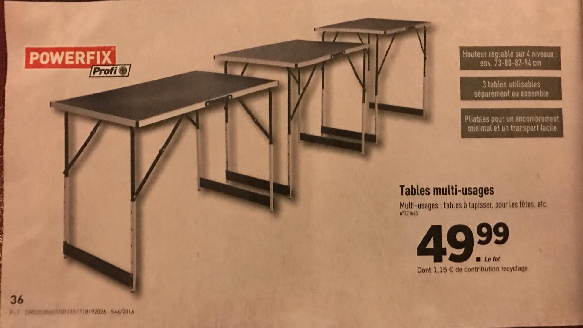 3 Tables pliantes multi-usages Powerfix