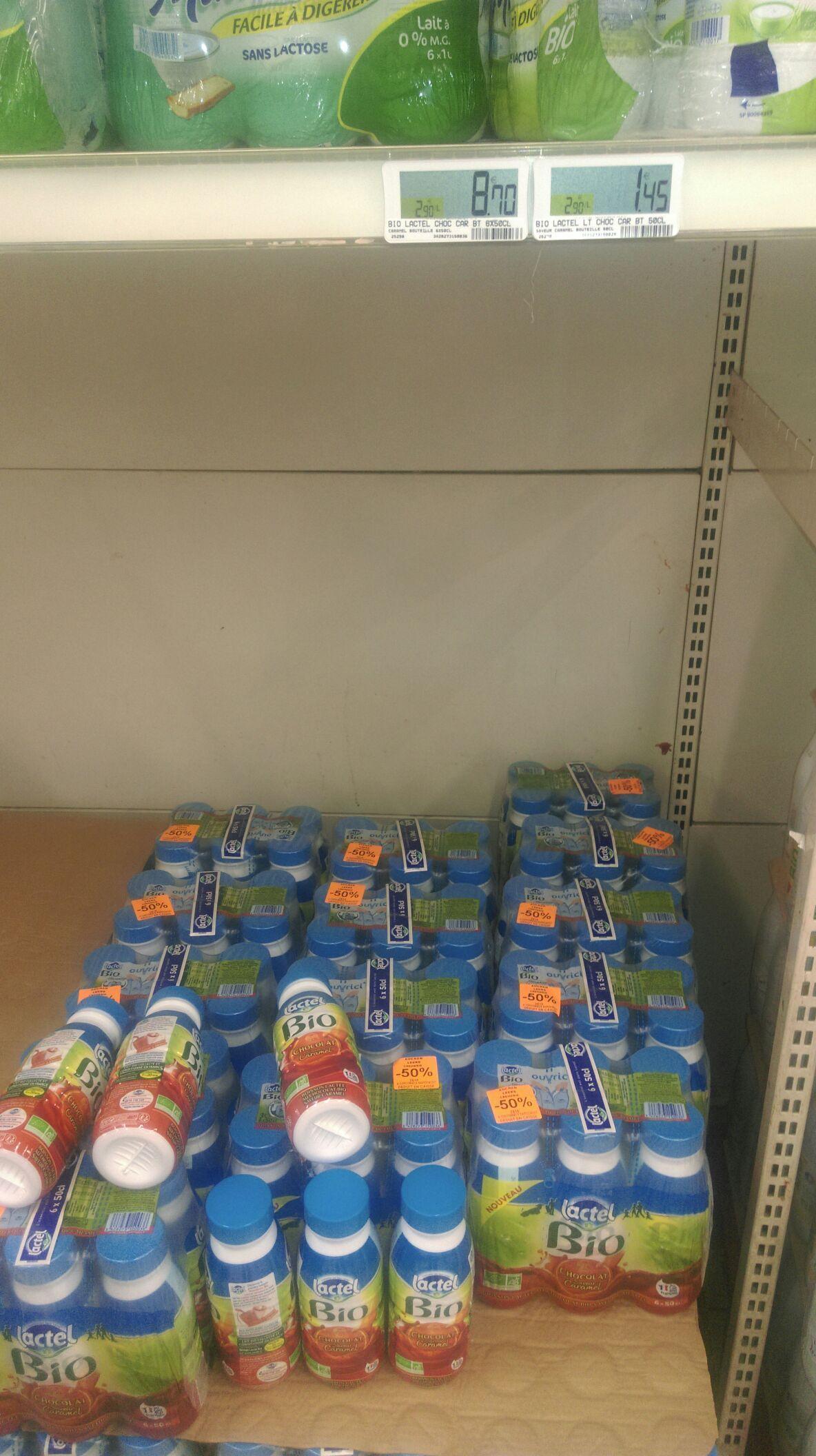 Pack de 6 Bouteilles de lait Bio Lactel Chocolat saveur caramel - 6x50cl (via Shopmium)