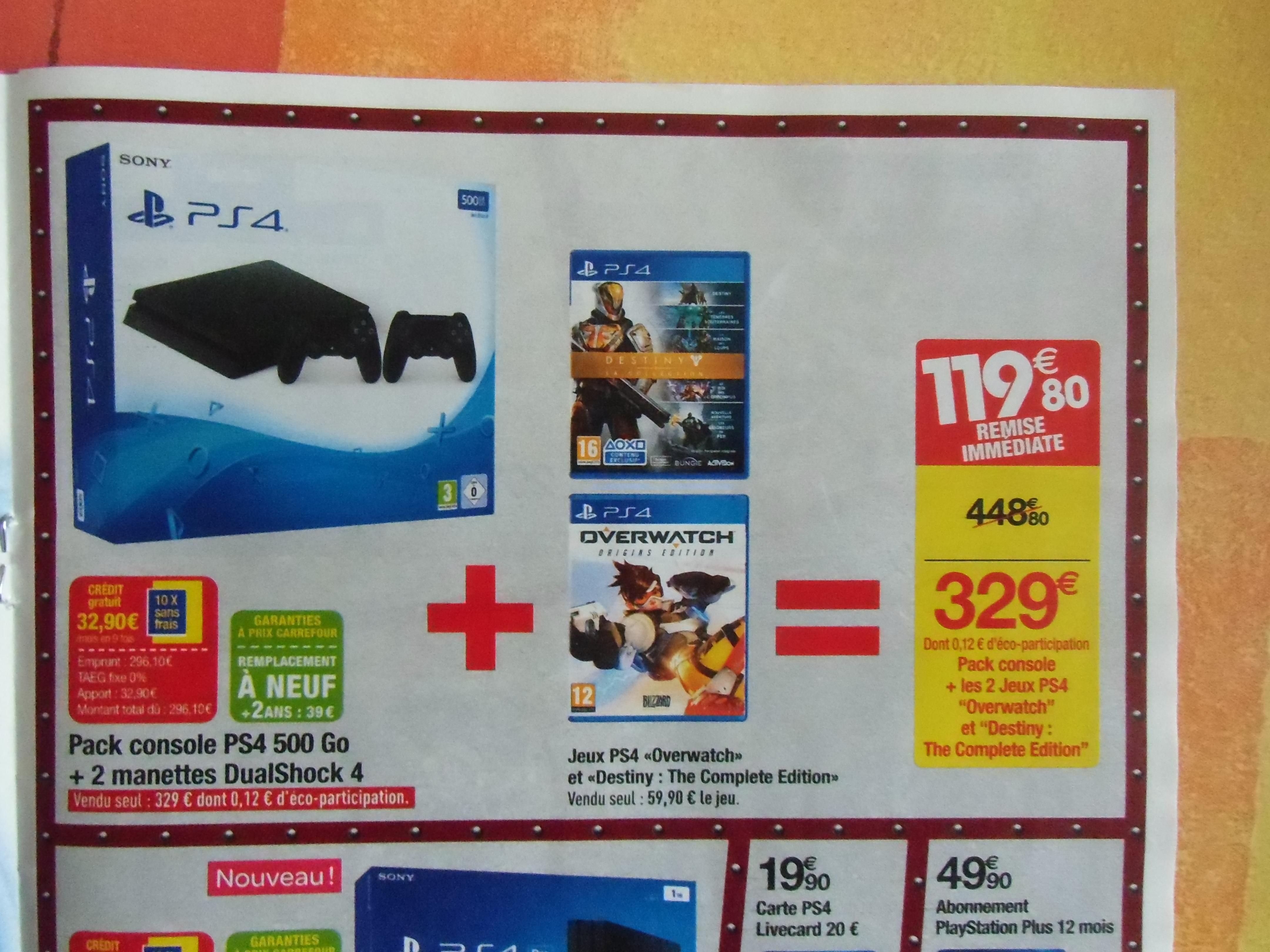 Console Sony PS4 Slim 500 Go + deuxième manette + Overwatch + Destiny : The Complete Edition