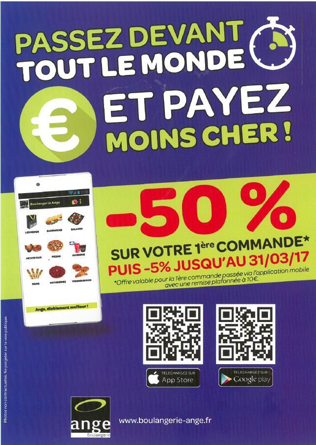 50% de réduction votre première commande via l'application mobile (10€ de réduction maximum)