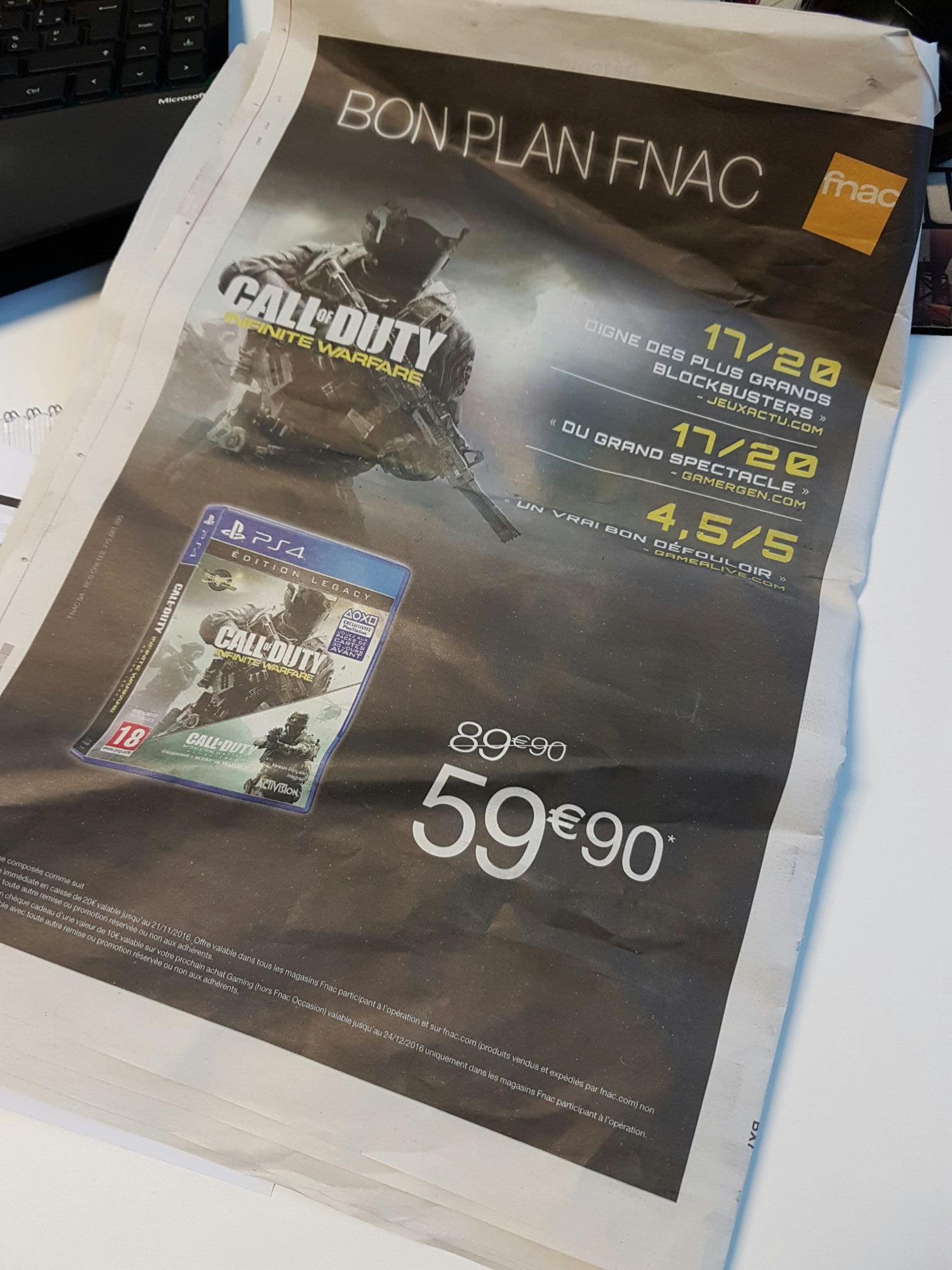 COD Infinity Warfare + COD MW Remasted sur PS4 (+10€ offerts en chèques cadeaux)