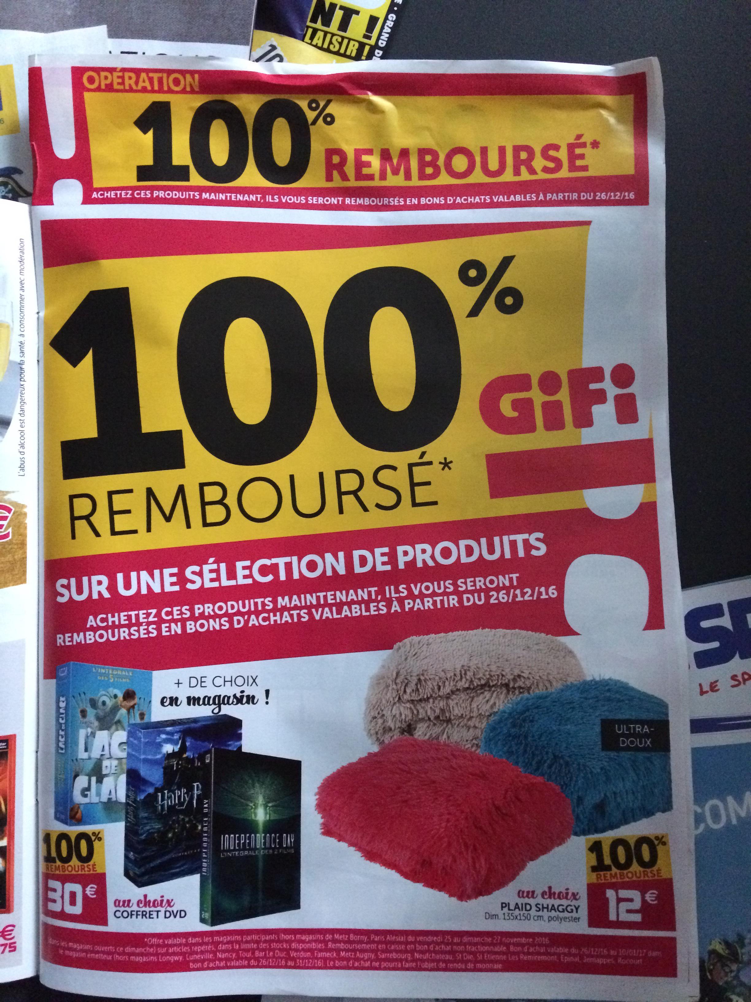 Sélection de produits 100% Remboursés en bons d'achat - Ex : Plaid Shaggy + 12€ en bon d'achat