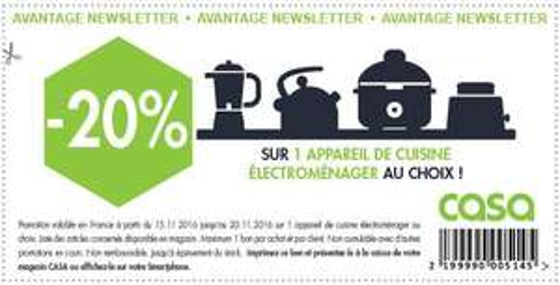 20%  de réduction sur un appareil de cuisine electromenager au choix