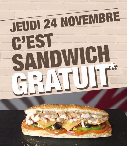 Sandwich simple viande sans supplément gratuit au restaurant Le Chill'