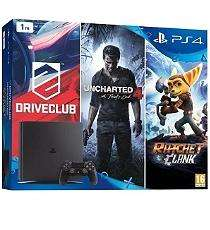 Pack console Sony PS4 Slim (1 To) + DriveClub + Grand Theft Auto V + Ratchet and Clank + Uncharted 4: A Thief's End