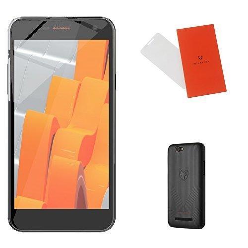 """Smartphone 5"""" Wileyfox Spark Plus Noir + Coque rigide noire + protection d'écran en verre trempé"""