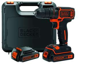 Perceuse sans fil Black + Decker BDCDC18KB-QW - 18 V avec 2 batteries lithium