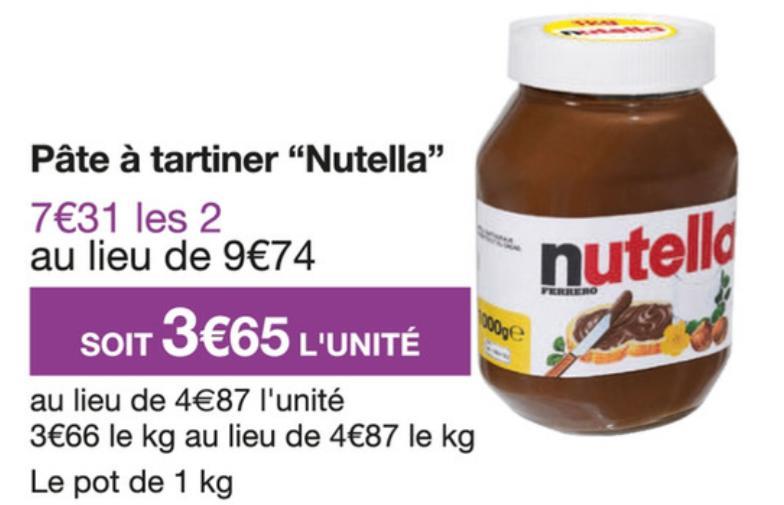 2 Pots de pâte à tartiner Nutella - 2x1Kg