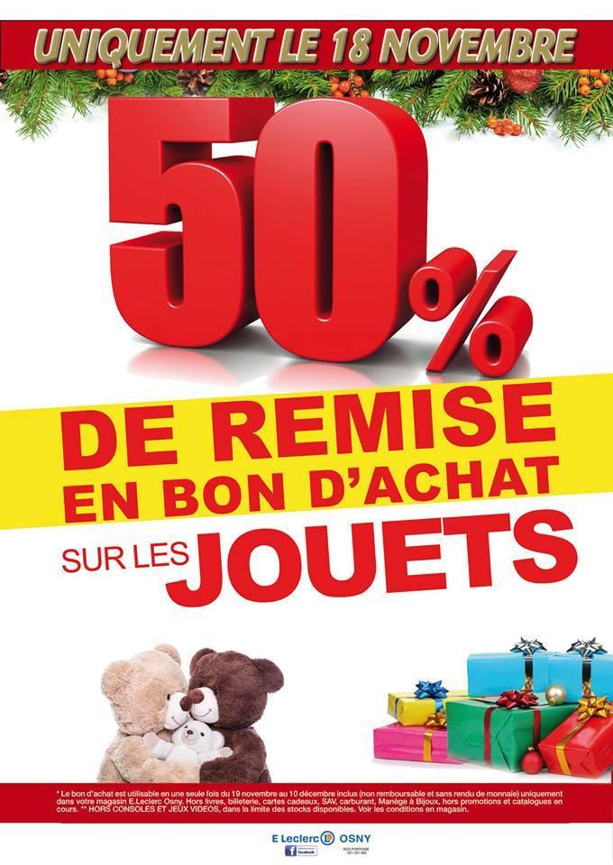 50% de remise en bon d'achat sur tous les jouets le 18/11 uniquement