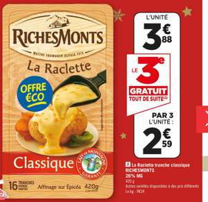 Lot de 3 paquets de Fromage raclette Richemonts - 16 tranches, 420g