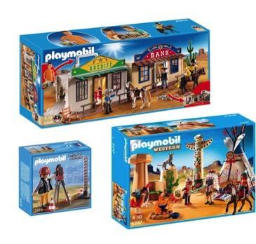 Promotion sur une sélection de Playmobil - Ex : Lot Playmobil Campement des indiens + Géomètre + Mon coffret de Cow-Boy transportable (via 26.59€ sur la carte + 15€ en bon d'achat)