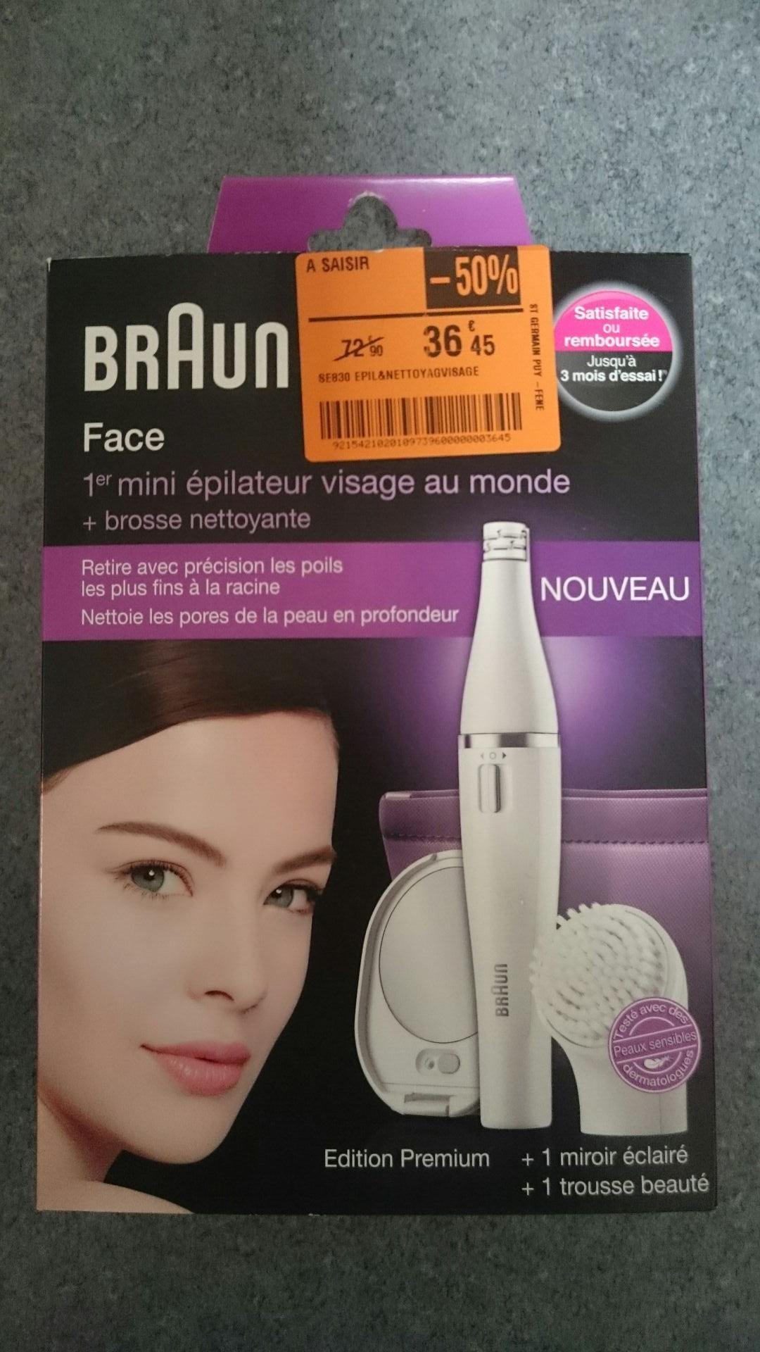 Mini Epilateur Braun Face Face 830 Édition Premium avec brosse nettoyante + mirroir + trousse beauté