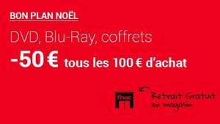 50€ de réduction tous les 100€ d'achat sur une sélection de DVD, Blu-ray et Coffrets