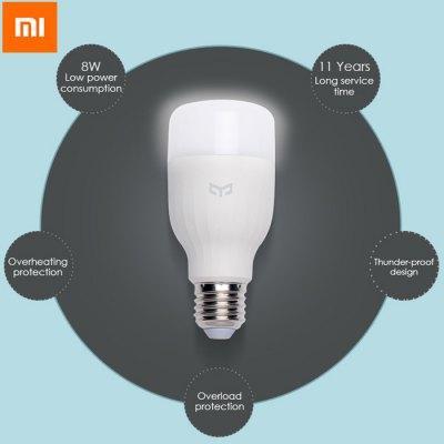 Ampoule connectée autonome Xiaomi Yeelight Smart LED compatible iOS / Android - E27, Lumière blanche, Intensité réglable, Wi-Fi