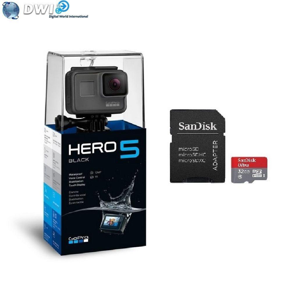 Caméra sportive Gopro Hero 5 Black Edition  + Carte micro SD 32 Go Sandisk