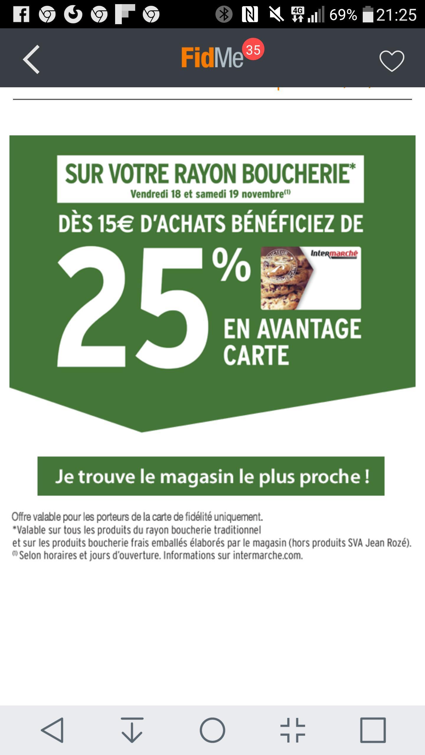 -25 %  au rayon boucherie dès 15 euros en avantage carte