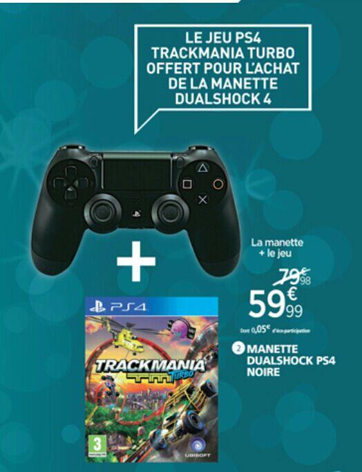 Manette Dualshock 4 + Trackmania TM Turbo pour PS4