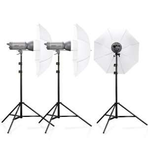 Kit de studio Walimex Pro VC-600/600/600 (3 flashs, 3 trépieds, 3 ombrelles) / Port inclus