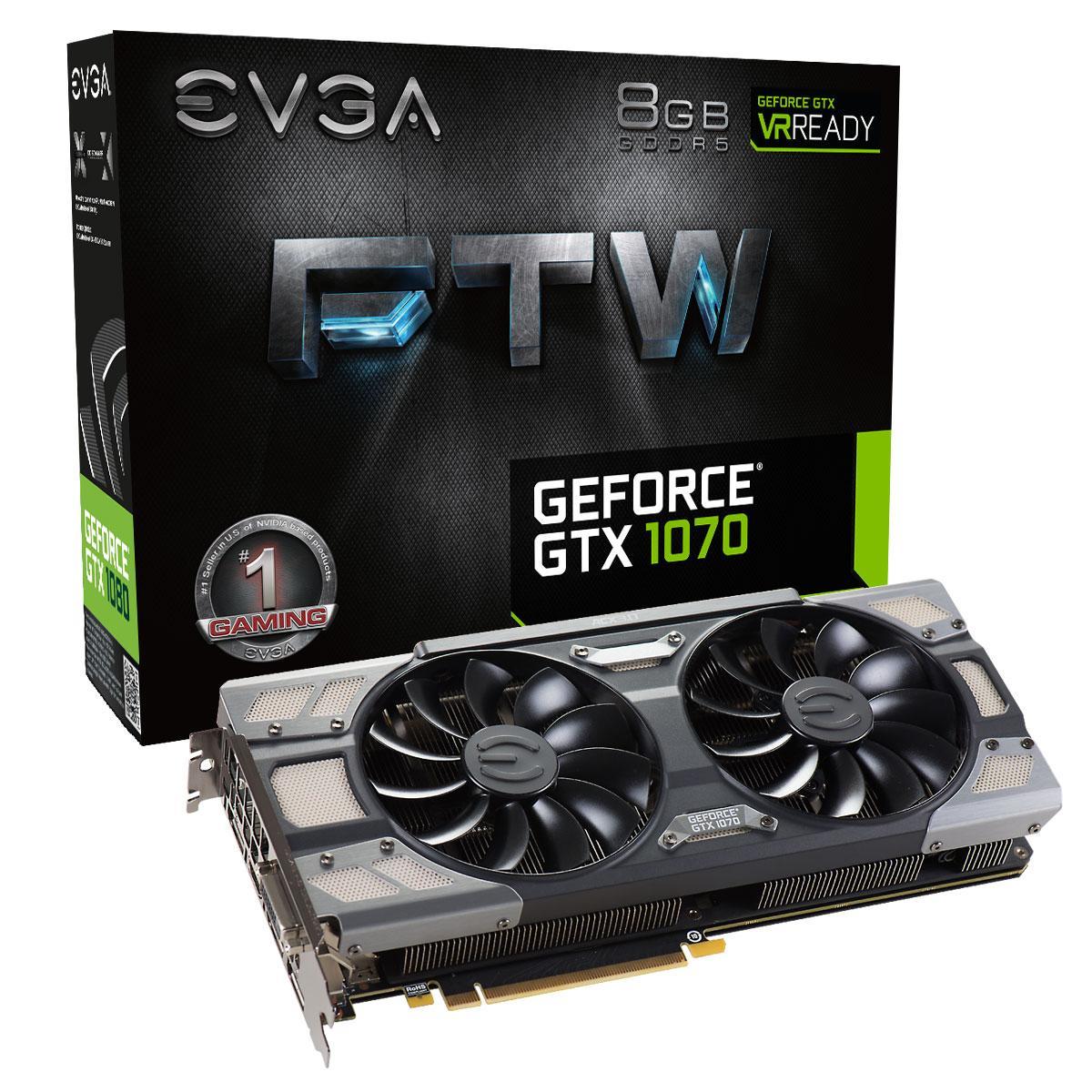 Carte Graphique GeForce GTX 1070 FTW Gaming ACX 3.0 - 8 Go + Gears of War 4 offert