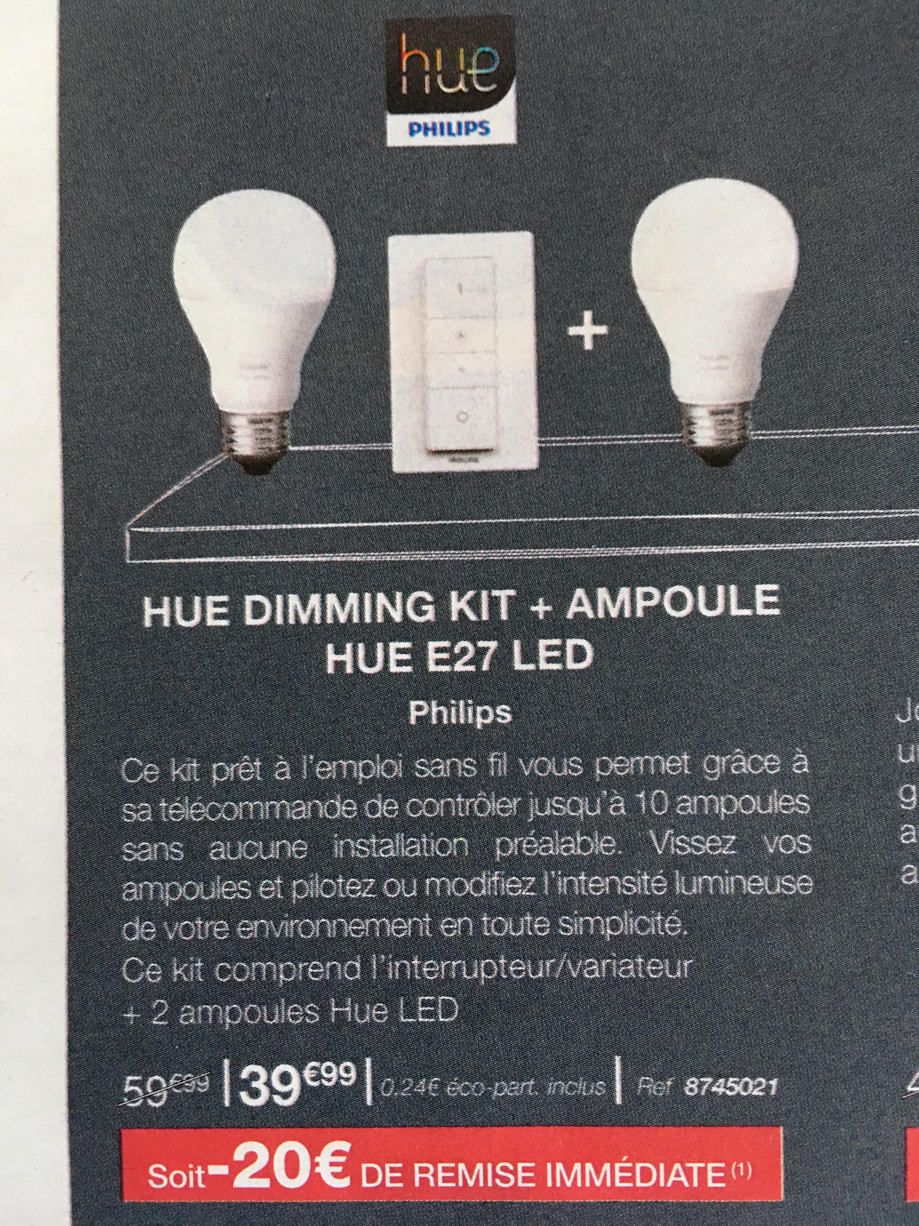 Kit variateur Philips HUE Dimming: 2 ampoules blanches E27 + télécommande