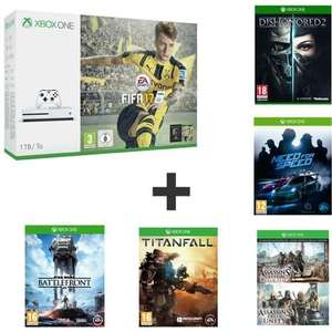 Sélection de packs en promo - Ex: Pack Console Xbox One S 1 To + Fifa 17 + Titanfall 1 + Need for Speed + Star Wars Battlefront + Dishonored 2 + Assassin's creed black flag & Unity