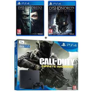 Pack Sony PS4 Slim 1 To + Call of Duty Infinite Warfare + Dishonored 2 + Dishonored Definitive Edition (Dématérialisé)