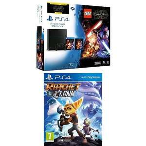 Pack Console PS4 Jet Black - 1To (Chässis C) + Lego Star Wars + Blu Ray : Star Wars The Force Awakens + Ratchet & Clank