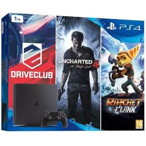 Pack console Sony PS4 Slim (Jet Black) 1To + Driveclub + Uncharted 4: A Thief's End + Ratchet and Clank