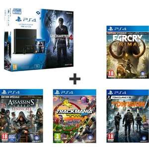 Pack Sony PS4 (1 To) - Uncharted 4: A Thief's End + Assassin's Creed Syndicate + Far Cry Primal + Trackmania Turbo + Tom Clancy's The Division