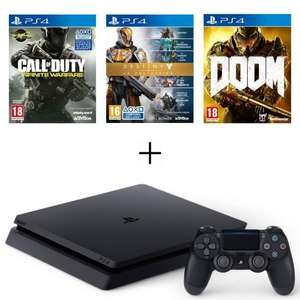 Sélection de packs PS4 - Ex : Console Sony PS4 Slim (500 Go) + Call of Duty: Infinite Warfare + Destiny : La Collection + Doom