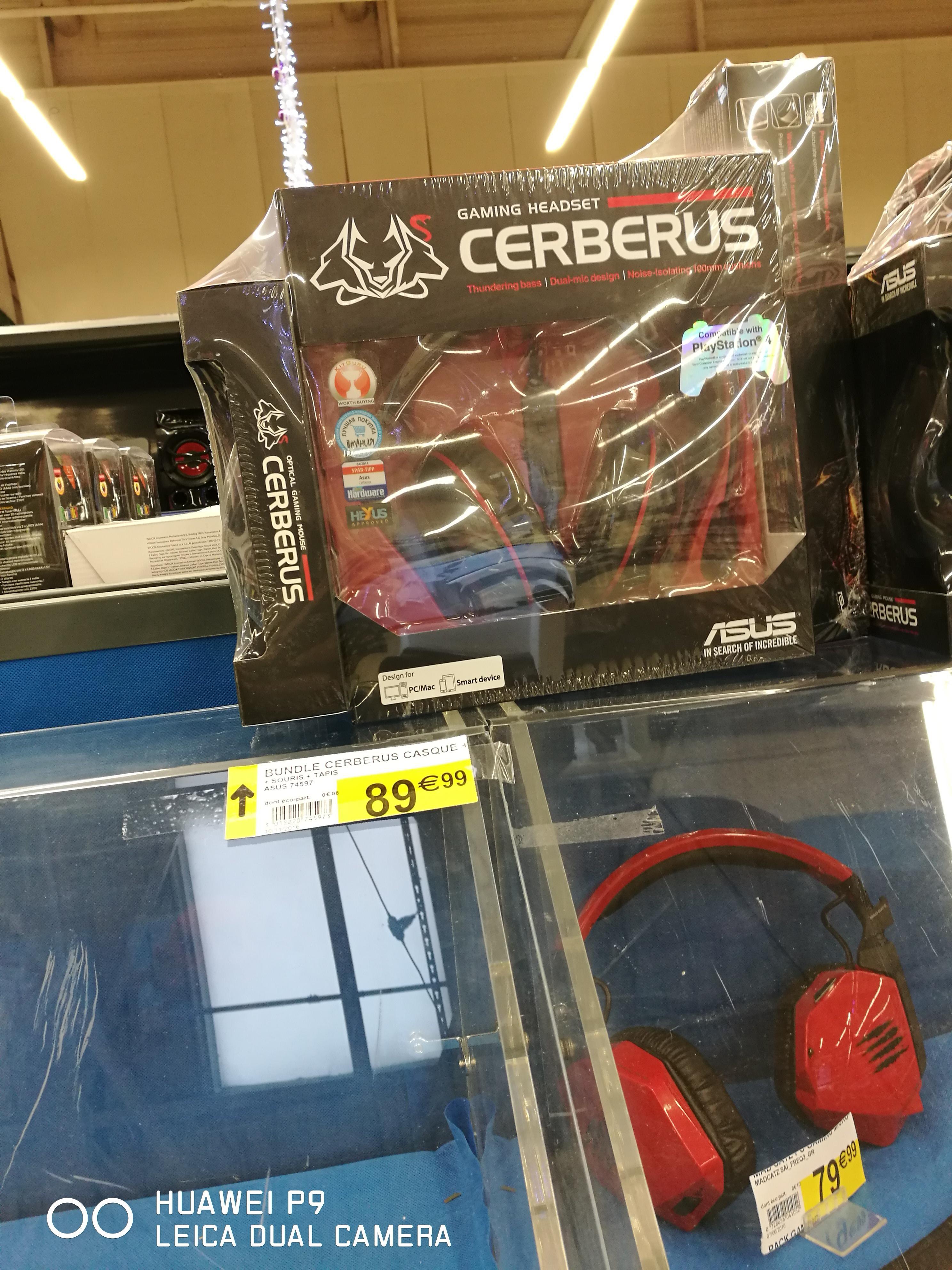 Bundle Asus Cerberus : Tapis de souris, souris, casque gaming