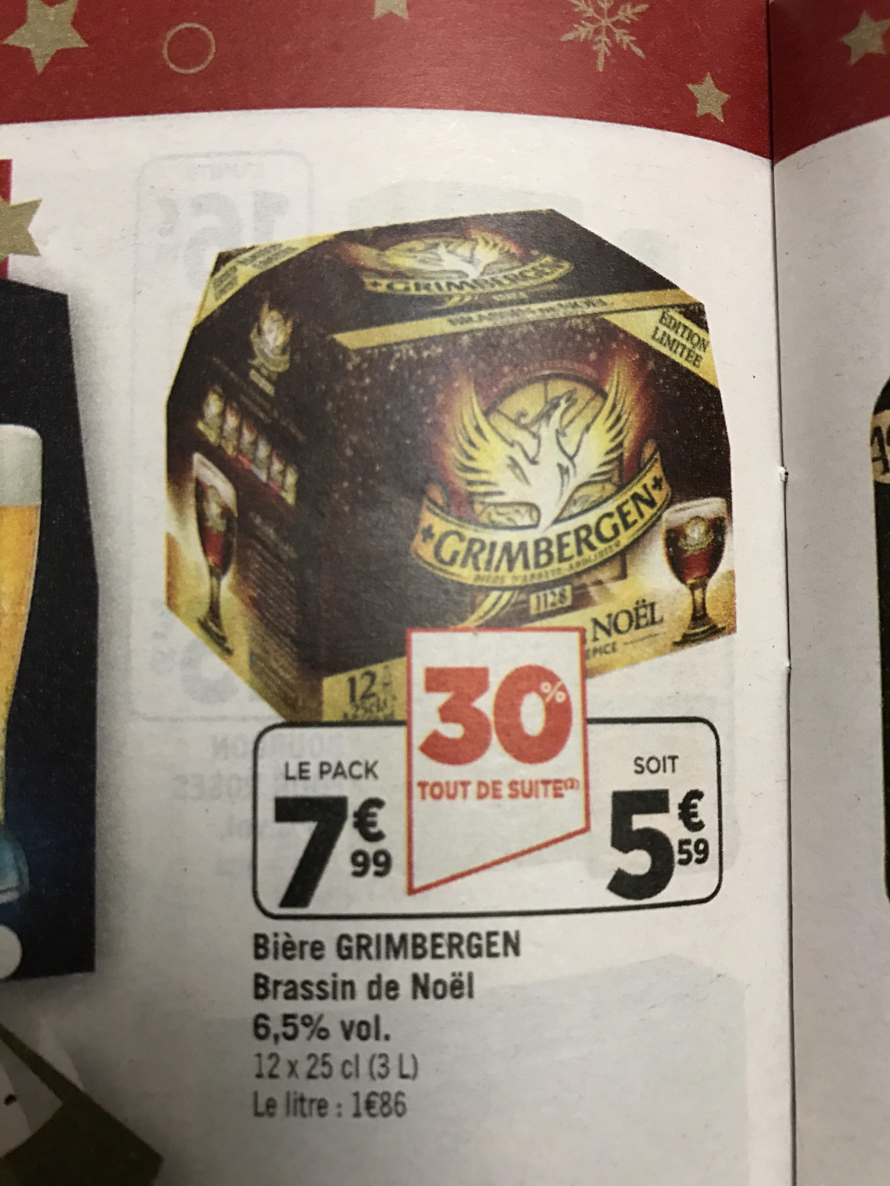 Pack de bières blondes Grimbergen - 12 x 25cl (via BDR)