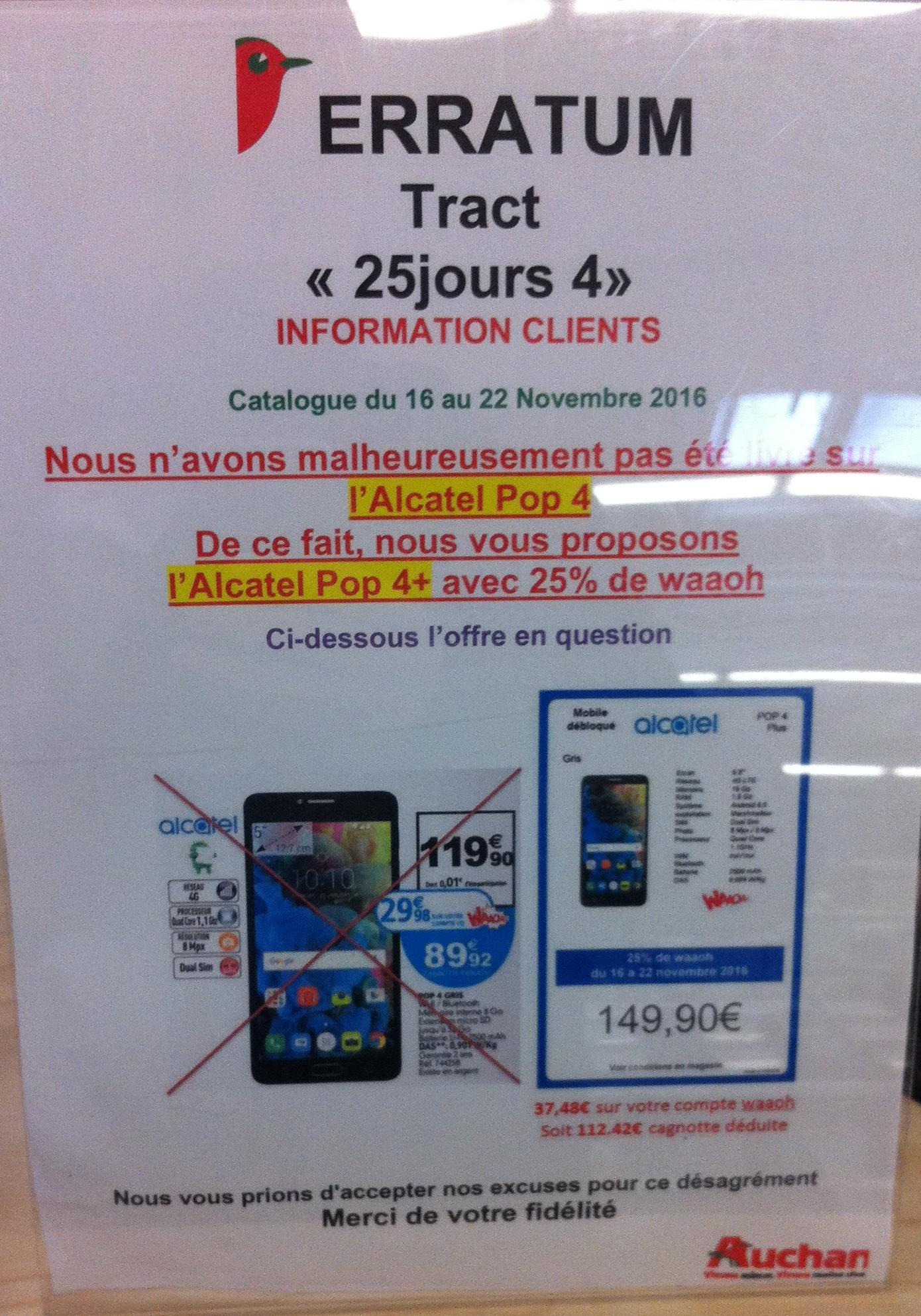 """Smartphone 5"""" Alcatel Pop 4+ (via 29.98€ sur la carte)"""