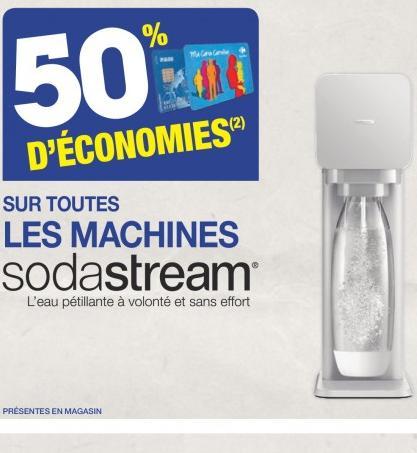 50% crédités sur la carte fidélité sur toutes les machines Sodastream