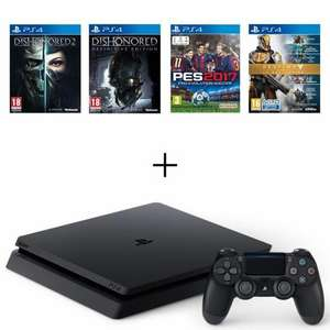 Pack Console Sony PS4 Slim Noire 500 Go + Dishonored 2 + Dishonored Definitive Edition (DLC) + Destiny la Collection + PES 2017
