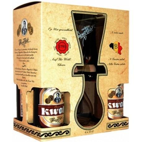 Coffret 4 Bières 33cL Kwak + 1 Verre