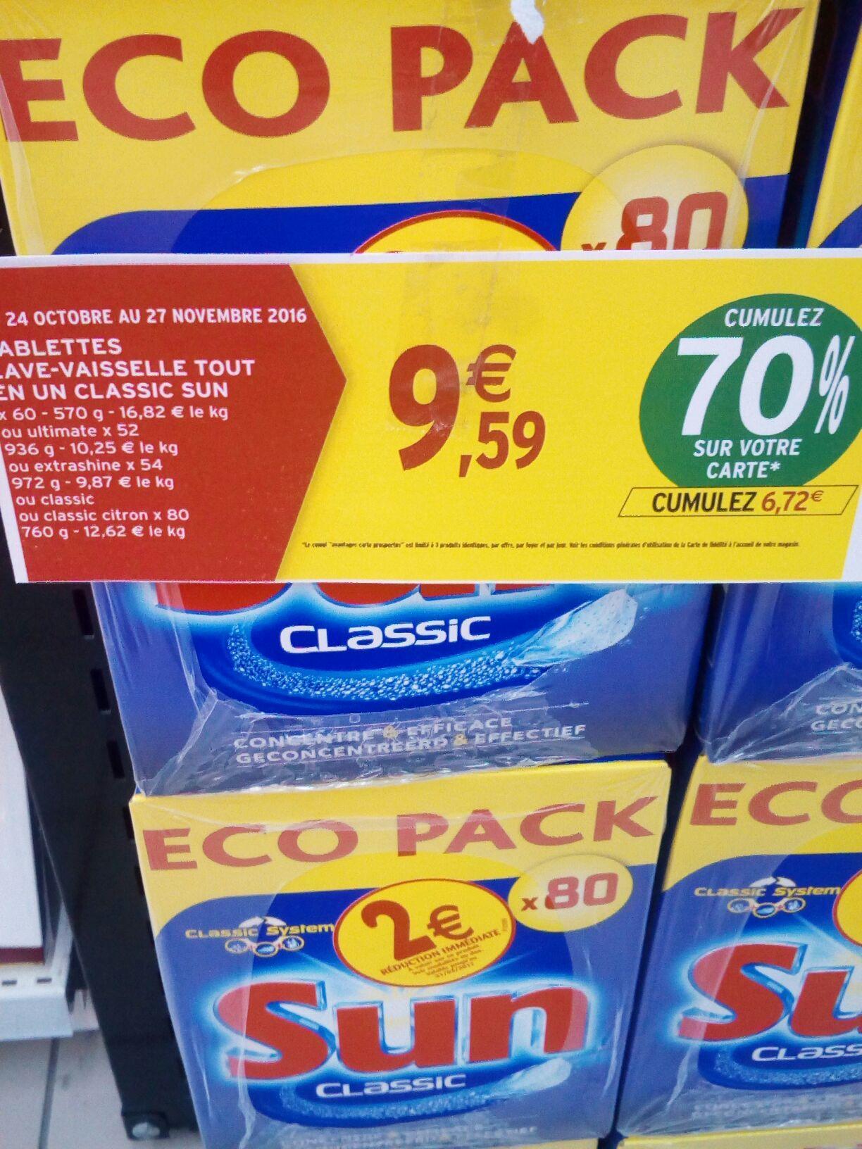 Pack de 80 tablettes lave vaisselle tout-en-un Sun (via 6.72€ fidélité + BDR)