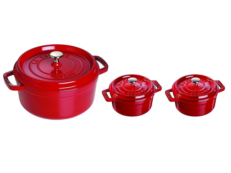 Coffret de 3 Cocottes rondes Staub 19520006 Rouge Cerise - 26cm + 2 x 10cm