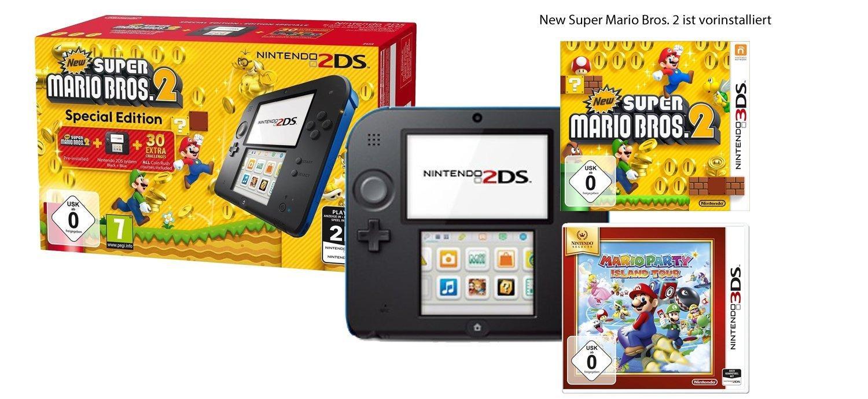 Nintendo 2DS avec New Super Mario Bros. 2 et Mario Party: Island Tour